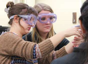 Students in Chemistry 109 examine copper and cobalt complexes