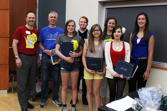 Wisconsin students and a teacher who won prizes as part of the 2015 Wisconsin Crystal-growing Contest visited the 188bet体育官网 Chemistry Building in May 2015.